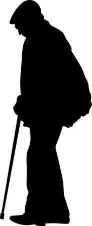 old man walking with a stick silhouette vector