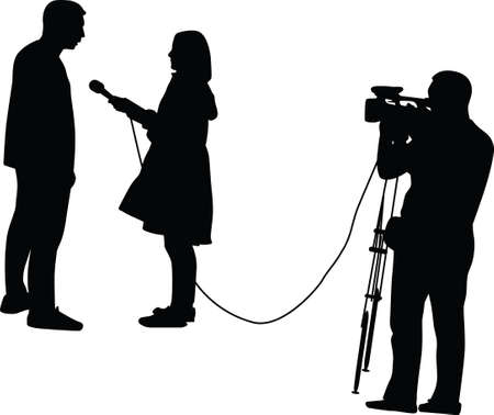 TV host interviewing a man, a cameraman in the background 矢量图像