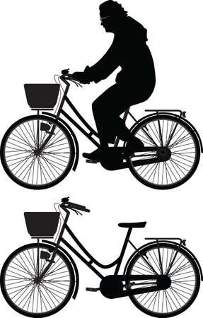 bicyclist woman silhouette vector 矢量图像