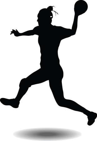 handball girl player silhouette