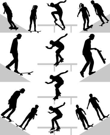 group of skateboarders practice on terrain silhouette vector