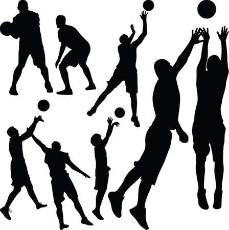set of eight basketball players with ball 矢量图像