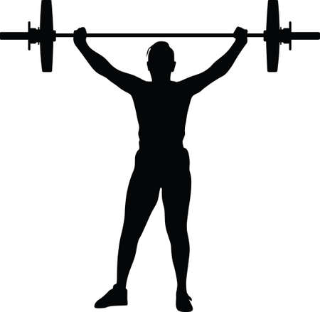 weight lifting girl silhouette Vector Illustration