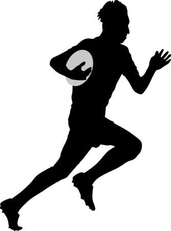 rugby player runs with a ball silhouette vector