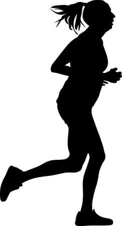 woman as a runner silhouette vector. girl runner