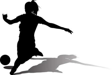 woman soccer player. girl soccer silhouette 矢量图像