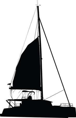 sailing boat catamaran 矢量图像