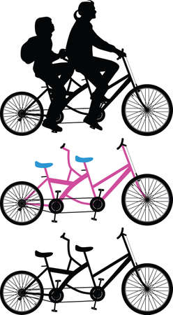 Two bicyclist on one bike silhouette vector