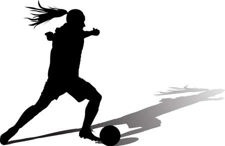 girl with a ball play soccer. woman soccer player silhouette vector with shadow 矢量图像