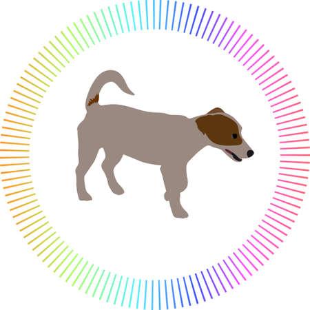 dog web icon color vector with circle around 矢量图像