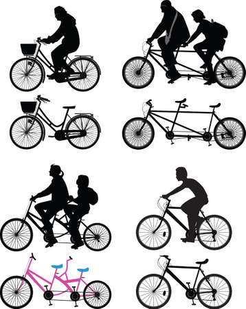 group of bicyclist and bike as isolated object 矢量图像