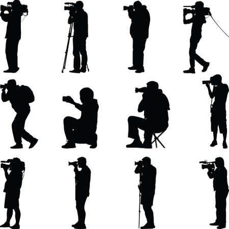 twelve photographers in different posses silhouette vector