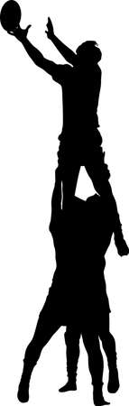 rugby line out silhouette vector