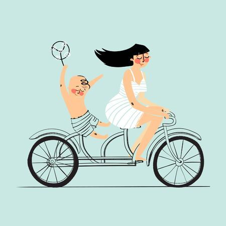 tandem bicycle: Woman and boy on tandem bicycle. Scooter rider, vector illustration.