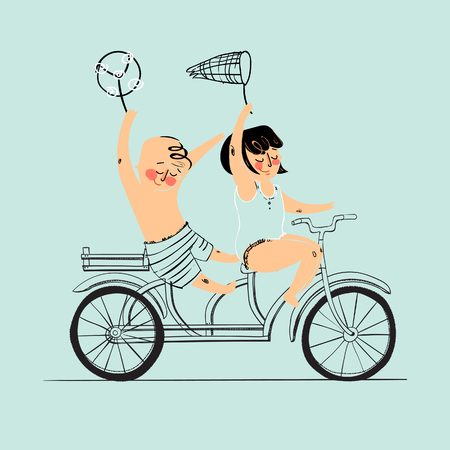 summer holidays: Two best friends ride on tandem bicycle. Illustration