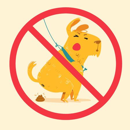 defecation: sign prohibiting dog walking. cartoon vector illustration of cute dog dumped poop.