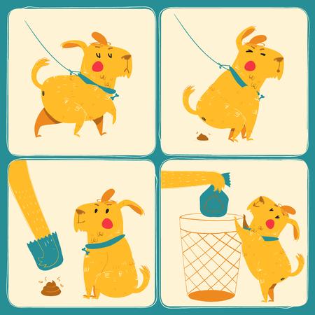 defecation: Clean after your dog. Vector illustration. Set Illustration