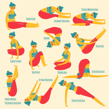 woman exercising: Set with cartoon woman exercising various different yoga poses training