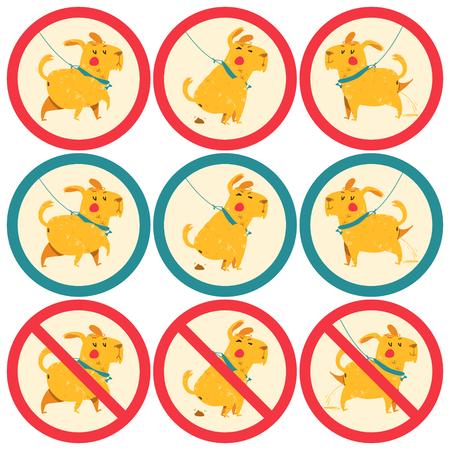 dumped: sign prohibiting, permissive dog walking. cartoon vector illustration of cute dog dumped poop. Illustration