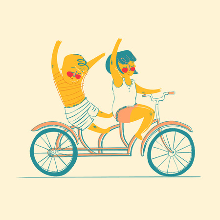 tandem bicycle: Friendship. Happiness. Two best friends ride on tandem bicycle. Flat design. Vector illustration. Illustration