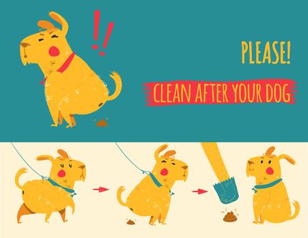 defecation: Clean after your dog. Vector illustration. Cartoon