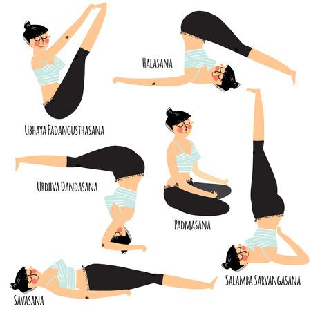 woman exercising: Yoga asana. Set with cartoon woman exercising various different yoga poses training