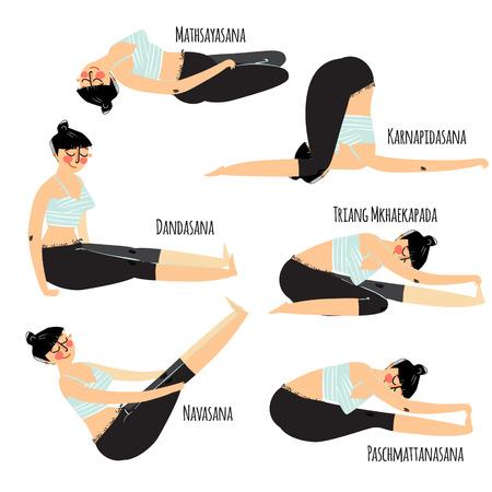 woman exercising: Yoga posture. Set with cartoon woman exercising various different yoga poses training