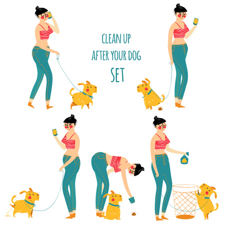 Woman cleaning dog waste, clean up after your pet, illustration. Set Vectores