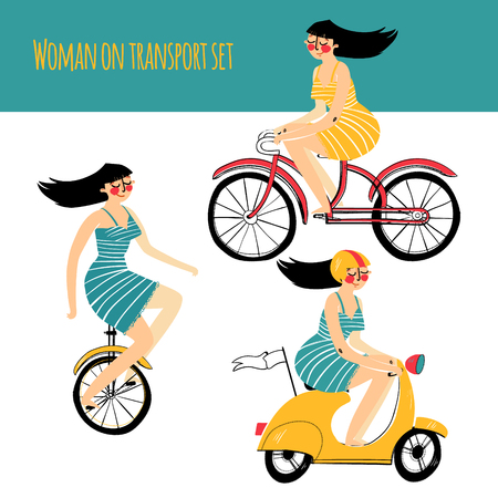 illustration contains set of city traveler, woman in three different situations. On unicycle, on scooter, on bicycle