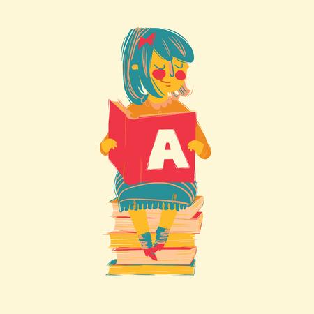 girl reading books illustration sitting on books