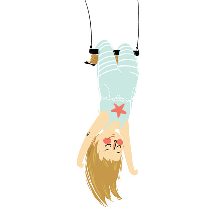 upside: Vector illustration of a solo girl hanging upside down on acrobats swing isolated. vector