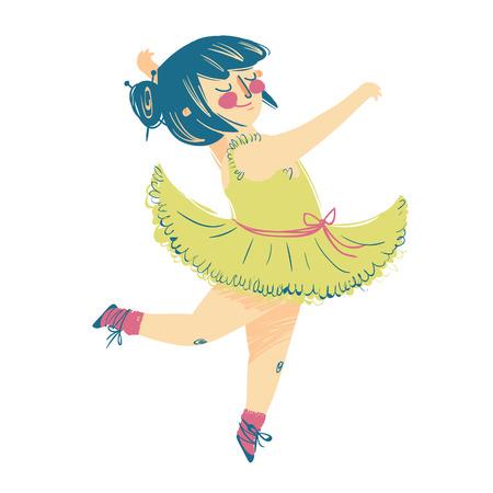 Cute little baby ballerina in dress. dance. vector. acrobat