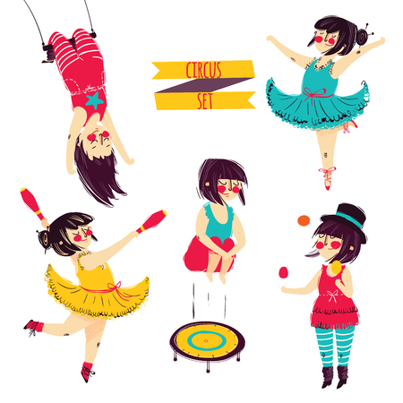 Cute circus set. Girl acrobat juggler vector Çizim