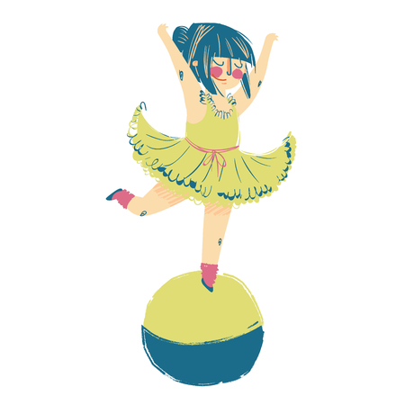 Illustration of a girl Circus Performer Standing on Top of a Balancing Ball