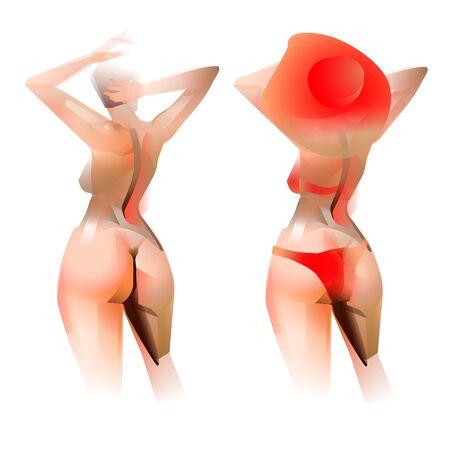 beautiful womanin red bikini isolated vector illustration