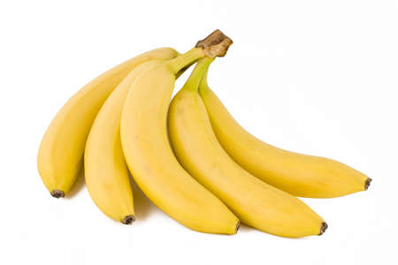 Bunch of five fresh bananas, tropical fruits isolated on white