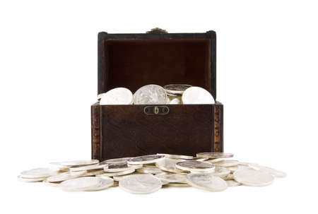 Old retro case with silver coins, isolated on white background Stock Photo - 8406764