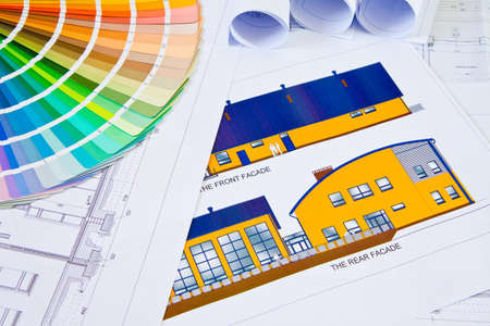 architecture plans: Palette of colors designs on architectural drawings