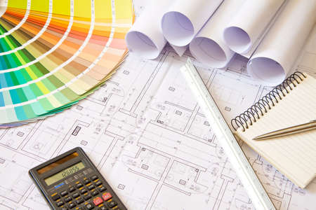 Palette of colors designs on architectural drawings, stuff