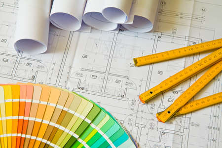 Palette of colors designs on architectural drawings, blueprint photo