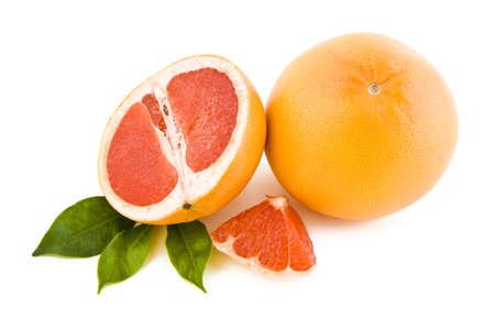 Fresh peeled red grapefruits isolated on white background Stock Photo