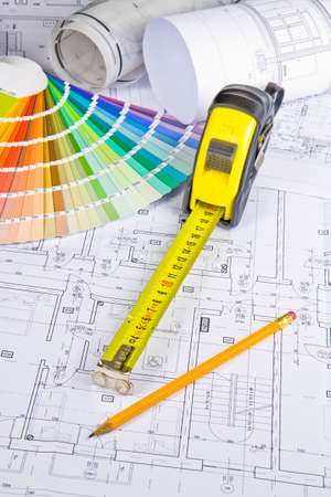 measurement tape: Architectural drawing, blueprint, pencil and measurement tape Stock Photo