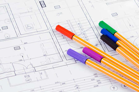 fineliner: Colored fineliners on architectural project background Stock Photo