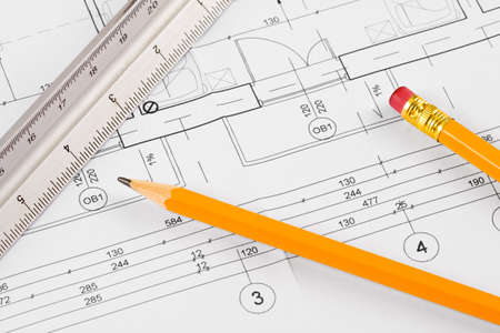 Architectural concept drawing, pencil and scale ruler, workplace photo
