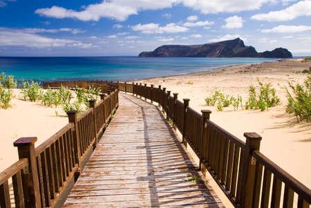 santo: Wooden footbridge leading to the beach on the Madeira islands, Porto Santo Stock Photo