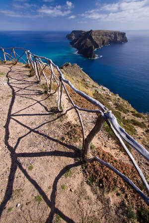 unsettled: Viewpoint to Ilheu da Cal, Porto Santo, Madeira islands in Portugal Stock Photo