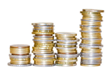 Shiny euro coins in stack isolated on white background Stock Photo - 13195414
