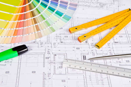 interior drawing: Architectural drawing, colors sample, design concept Stock Photo