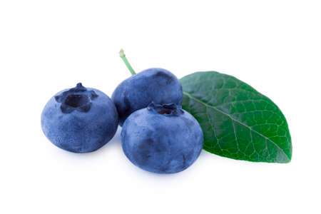 Three blueberries isolated on white background, fruits closeup