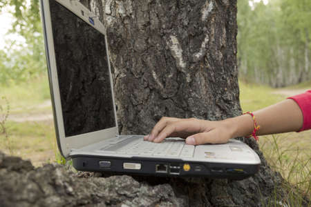 A girl works on a computer on the nature   photo